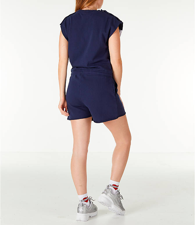 Back Right view of Women's Fila Costanza Romper in Navy