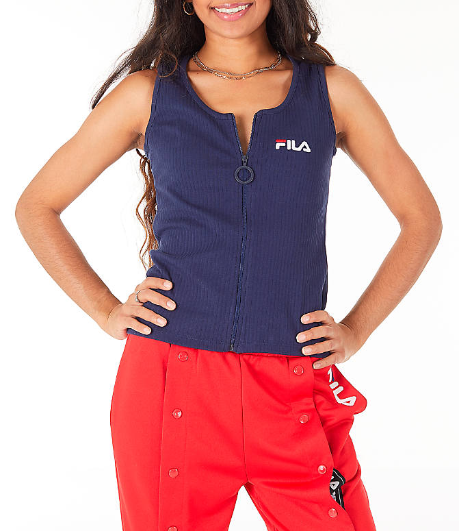 Detail 2 view of Women's Fila Marcella Zip Tank in Navy