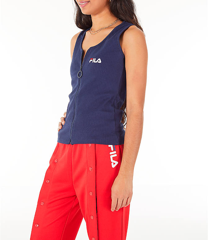 Front Three Quarter view of Women's Fila Marcella Zip Tank in Navy