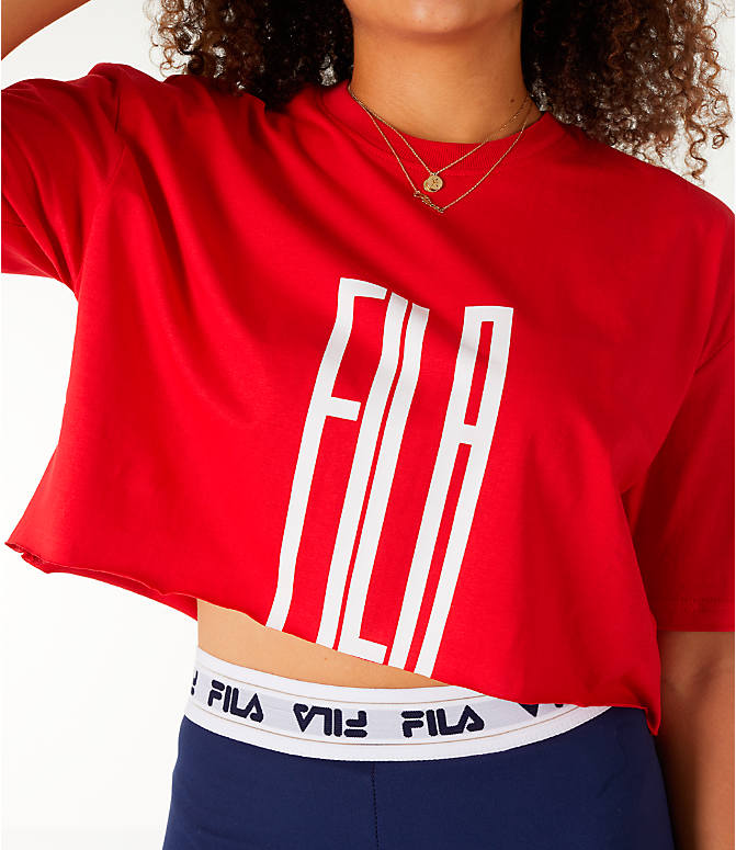 Detail 1 view of Women's Fila Domenica Crop T-Shirt in Red/White