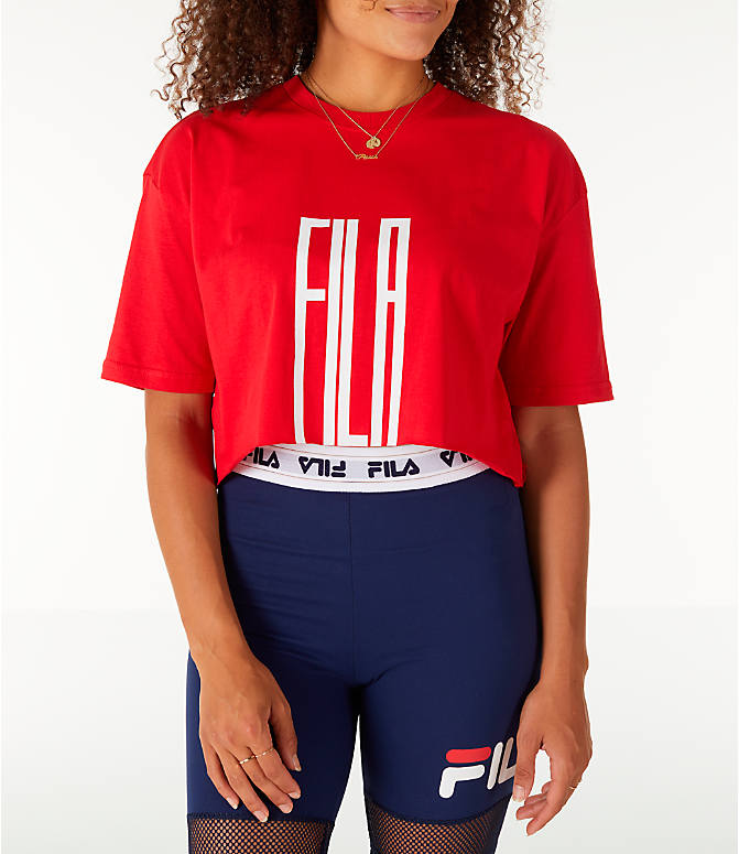 Front view of Women's Fila Domenica Crop T-Shirt in Red/White