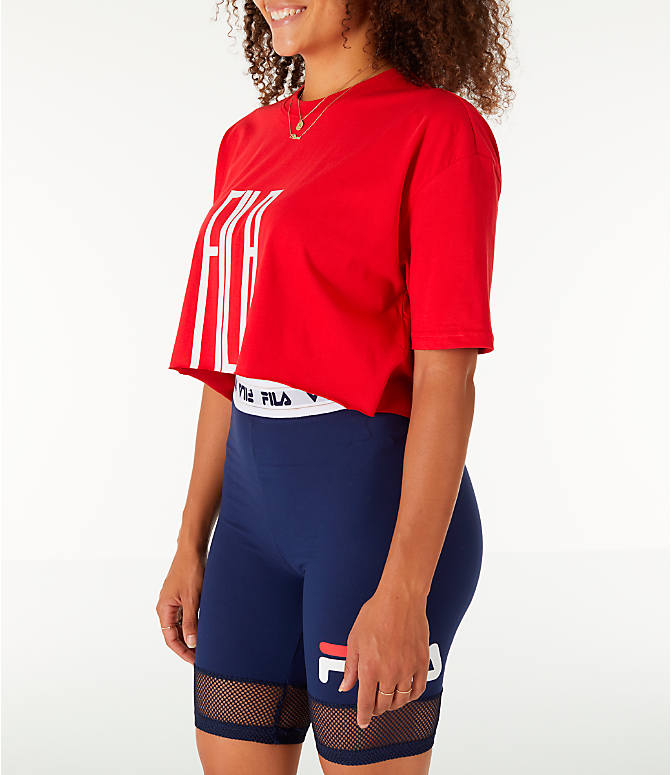 Front Three Quarter view of Women's Fila Domenica Crop T-Shirt in Red/White