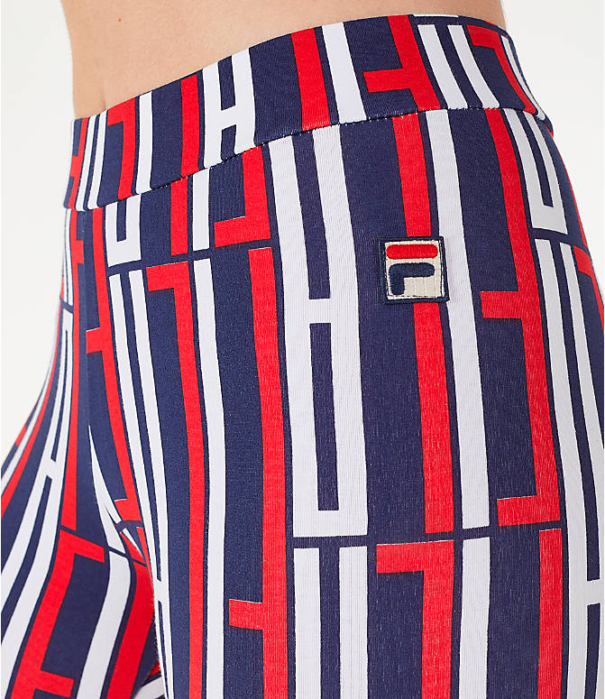 Detail 1 view of Women's Fila Petra Leggings in Navy/Red/White
