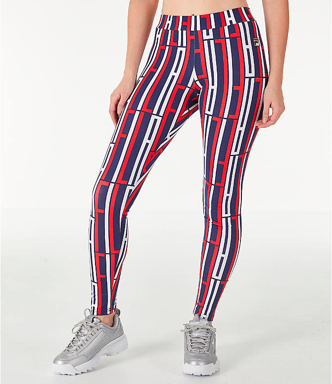 Front view of Women's Fila Petra Leggings in Navy/Red/White