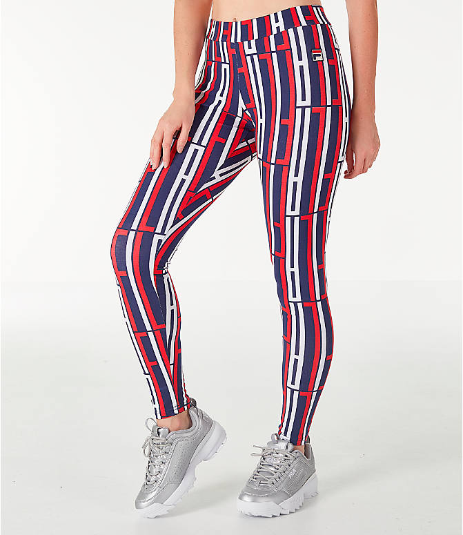 Front Three Quarter view of Women's Fila Petra Leggings in Navy/Red/White