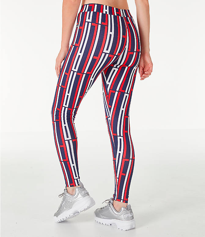 Back Left view of Women's Fila Petra Leggings in Navy/Red/White