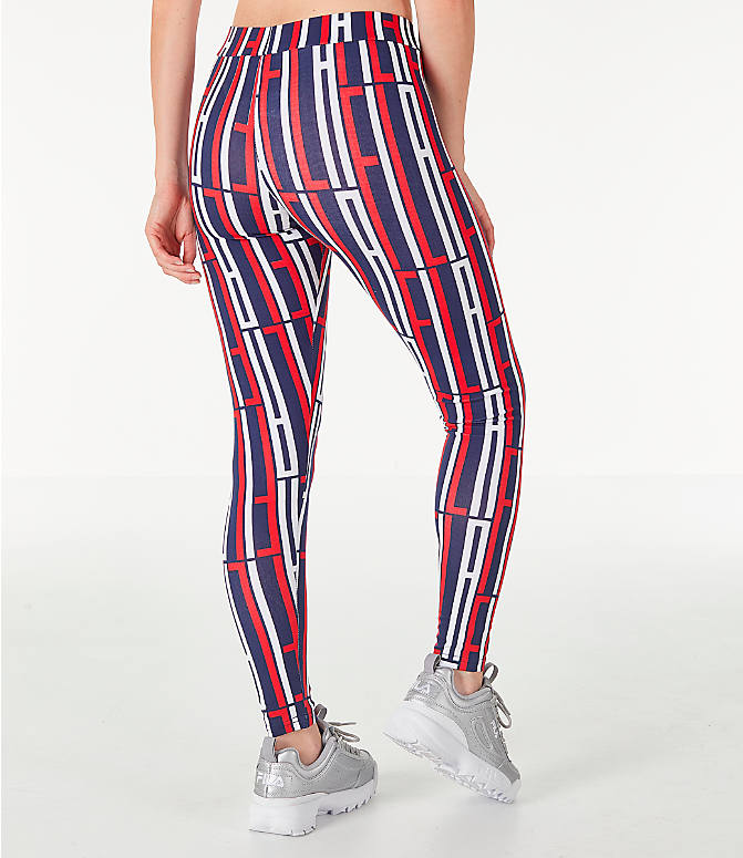 Back Right view of Women's Fila Petra Leggings in Navy/Red/White