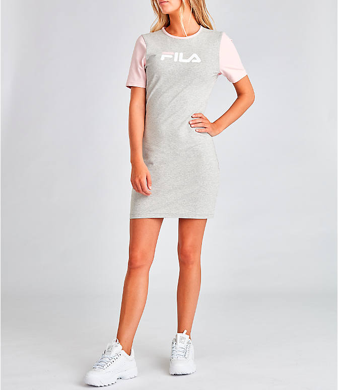 Front view of Women's Fila Roslyn Dress in Grey/Pink