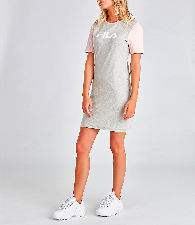 Front Three Quarter view of Women's Fila Roslyn Dress in Grey/Pink