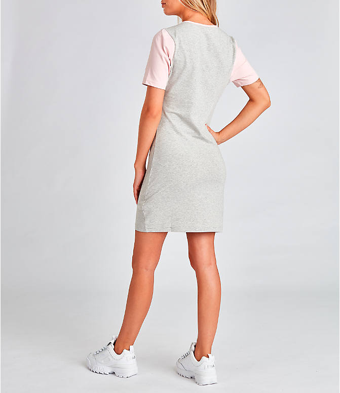 Back Left view of Women's Fila Roslyn Dress in Grey/Pink