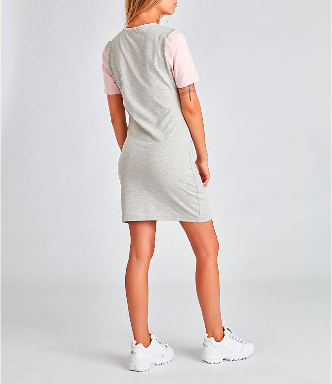 Back Right view of Women's Fila Roslyn Dress in Grey/Pink