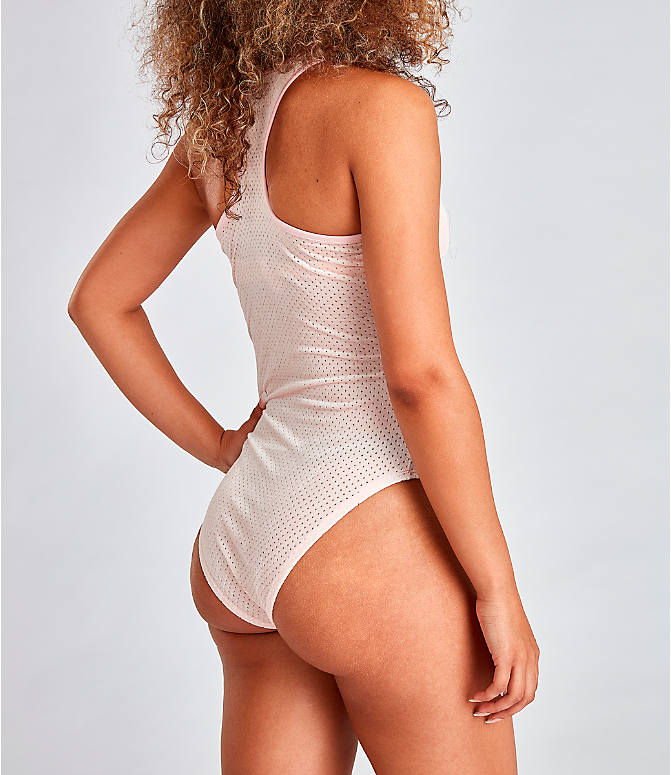 Back Right view of Women's Fila Lupita Racerback Bodysuit in Pink
