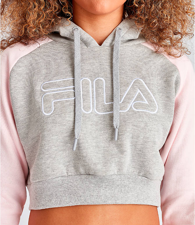 Detail 1 view of Women's Fila Valeria Cropped Hoodie in Grey/Pink