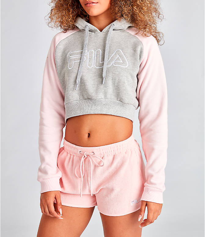 Front Three Quarter view of Women's Fila Valeria Cropped Hoodie in Grey/Pink