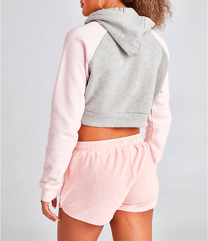 Back Left view of Women's Fila Valeria Cropped Hoodie in Grey/Pink