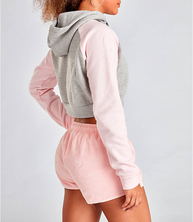 Back Right view of Women's Fila Valeria Cropped Hoodie in Grey/Pink
