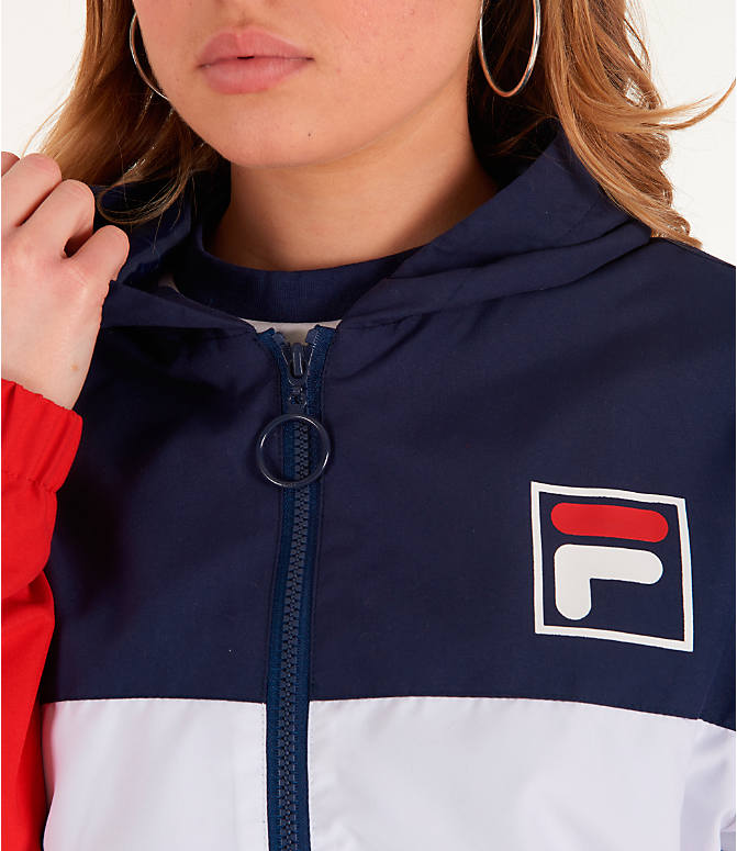 Detail 1 view of Women's Fila Luella Woven Wind Jacket in Navy/White