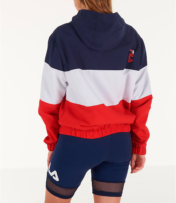 Back Left view of Women's Fila Luella Woven Wind Jacket in Navy/White