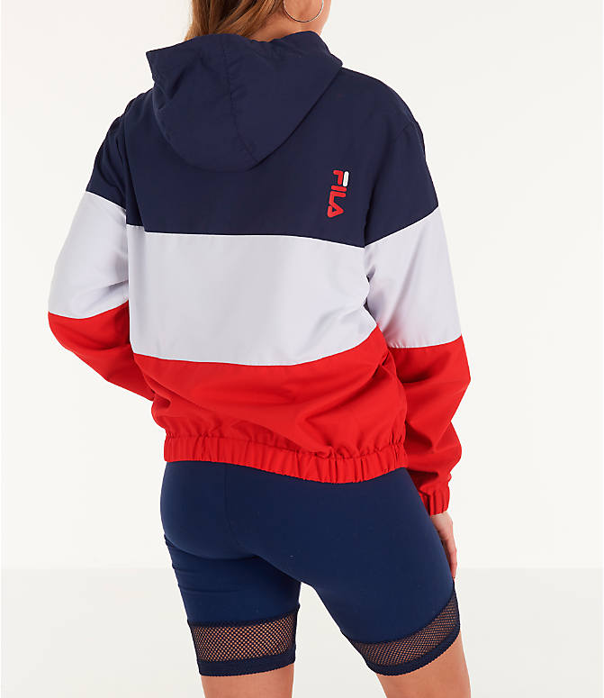 Back Right view of Women's Fila Luella Woven Wind Jacket in Navy/White
