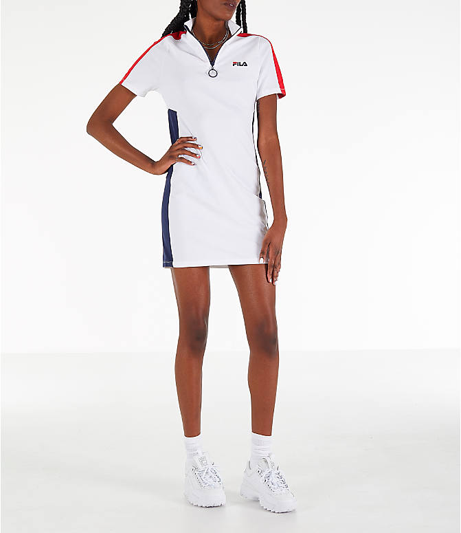 Front view of Women's Fila Lucrecia Dress in White/Red