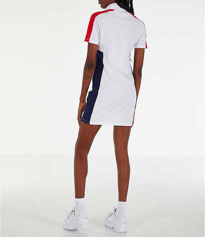 Back Left view of Women's Fila Lucrecia Dress in White/Red