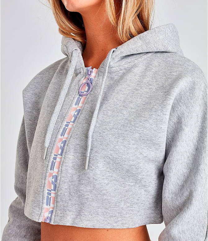 Detail 1 view of Women's Fila Alexa Zip Cropped Hoodie in Grey/Pink