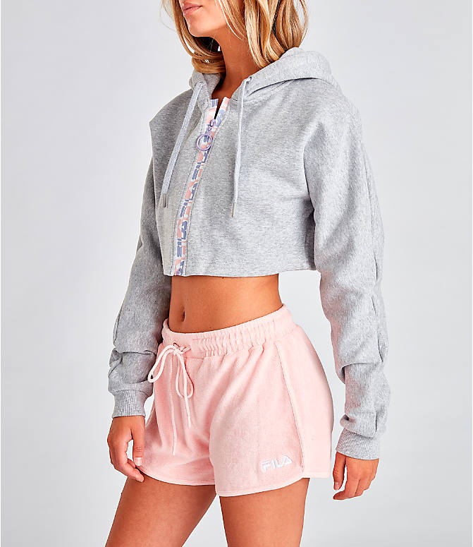 Front Three Quarter view of Women's Fila Alexa Zip Cropped Hoodie in Grey/Pink