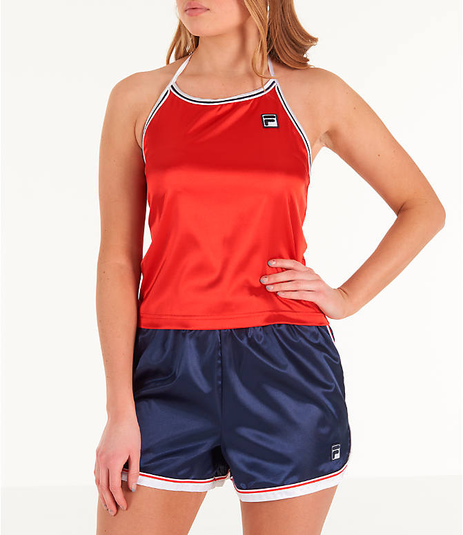 Front view of Women's Fila Marisol Halter Tank in Red