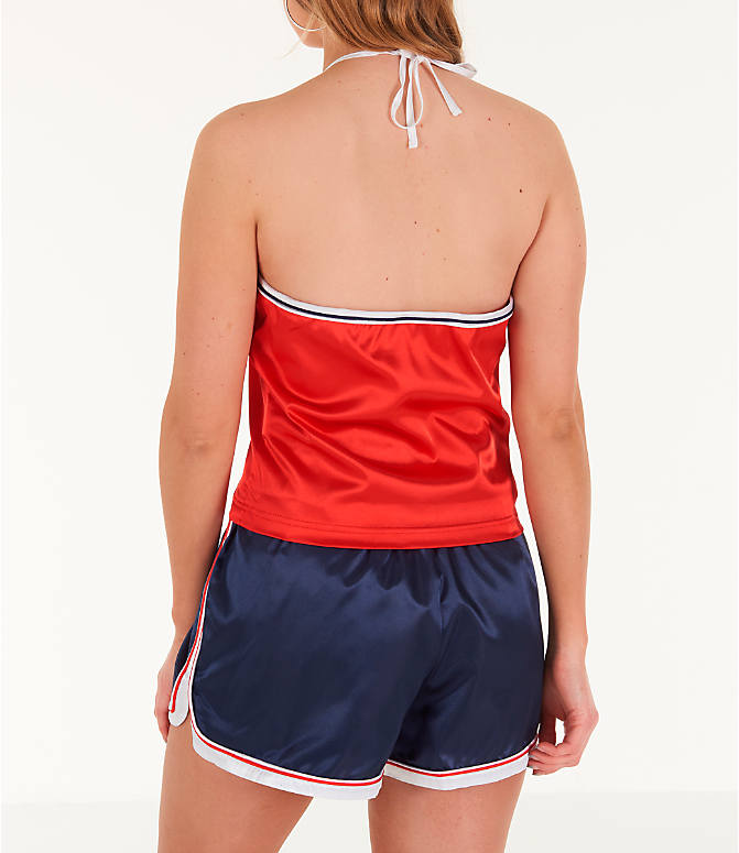 Back Left view of Women's Fila Marisol Halter Tank in Red