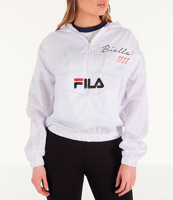 Front view of Women's Fila Jana Half-Zip Jacket in White