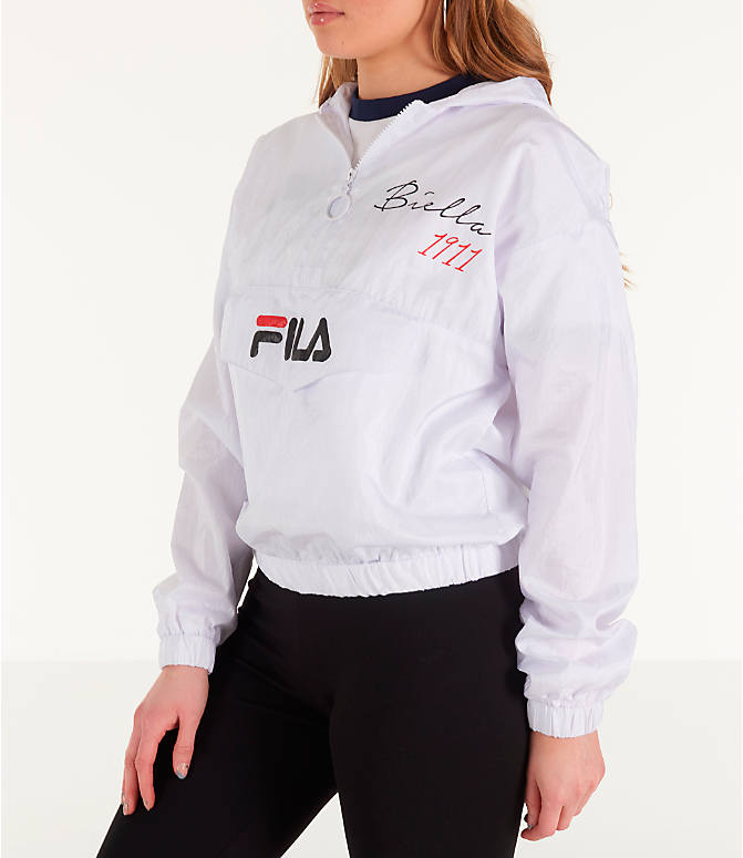 Front Three Quarter view of Women's Fila Jana Half-Zip Jacket in White