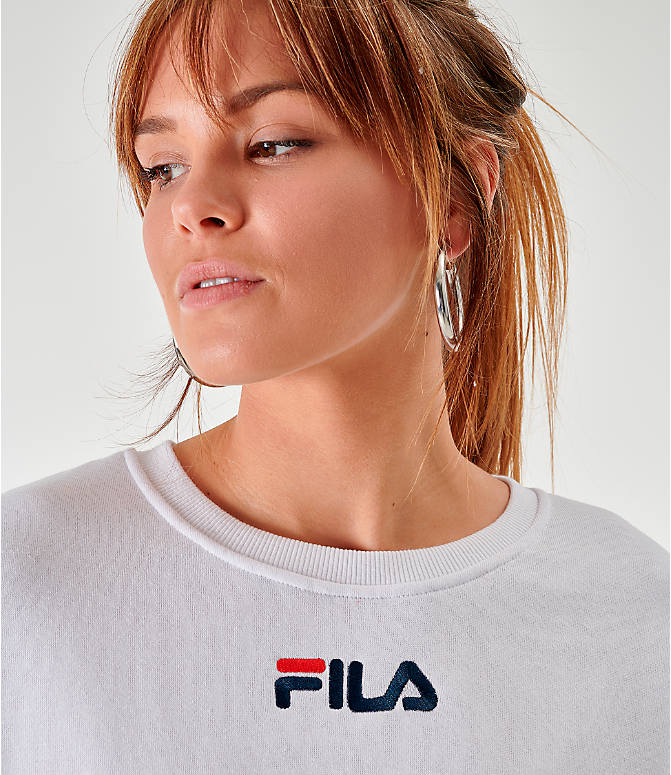 Back Right view of Women's Fila Kairy Crew Sweatshirt in White/Chinese Red/Peacoat
