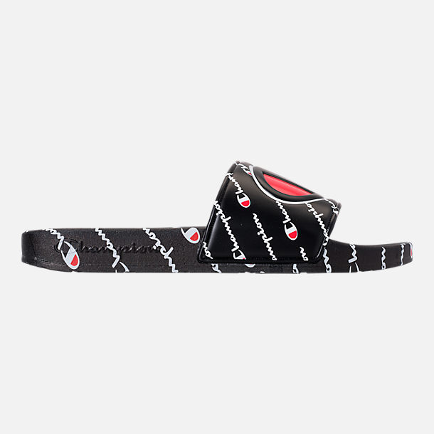 Right view of Boys' Big Kids' Champion IPO Repeat Slide Sandals in Black/White/Red