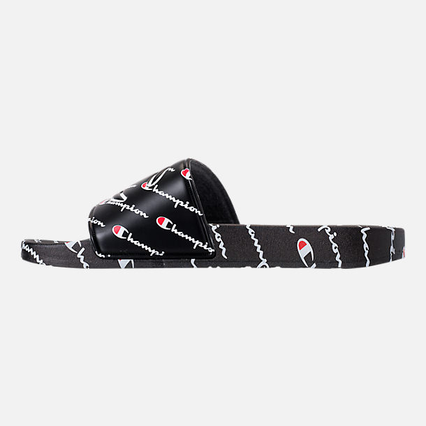 Left view of Boys' Big Kids' Champion IPO Repeat Slide Sandals in Black/White/Red
