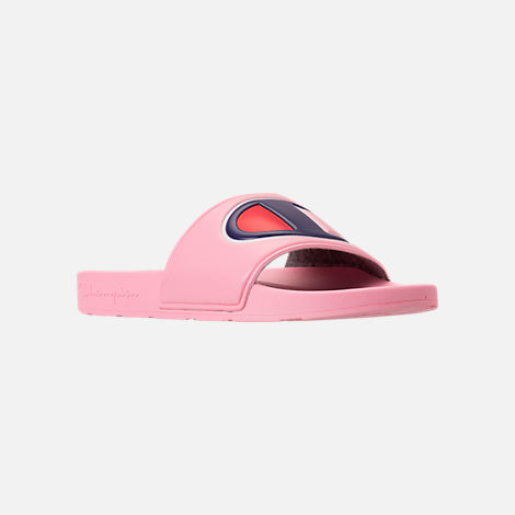 Three Quarter view of Girls' Grade School Champion IPO Slide Sandals in Pink/Pink