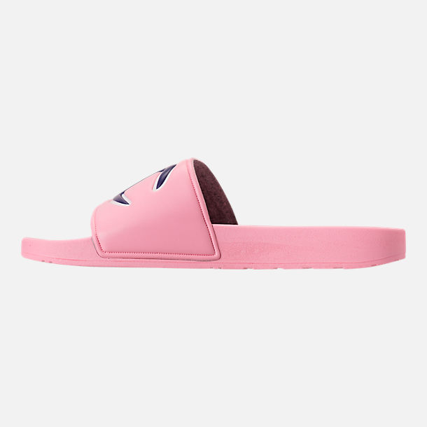 Left view of Girls' Grade School Champion IPO Slide Sandals in Pink/Pink