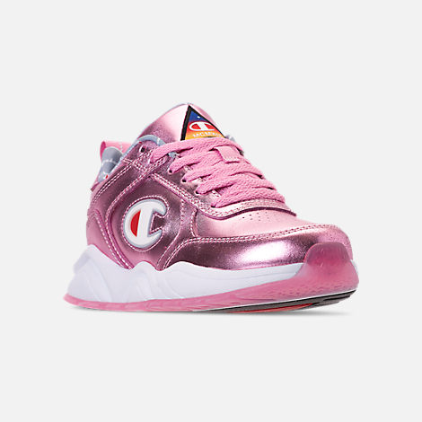 Three Quarter view of Girls' Big Kids' Champion 93Eighteen Metallic Casual Shoes in Pink