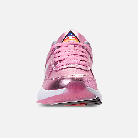 Front view of Girls' Big Kids' Champion 93Eighteen Metallic Casual Shoes in Pink