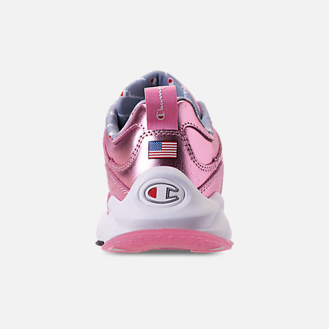 Back view of Girls' Big Kids' Champion 93Eighteen Metallic Casual Shoes in Pink
