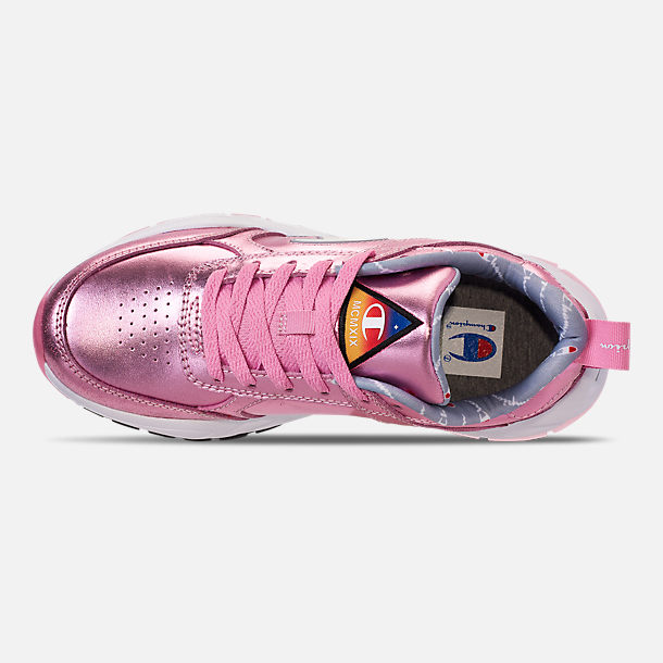 Top view of Girls' Big Kids' Champion 93Eighteen Metallic Casual Shoes in Pink