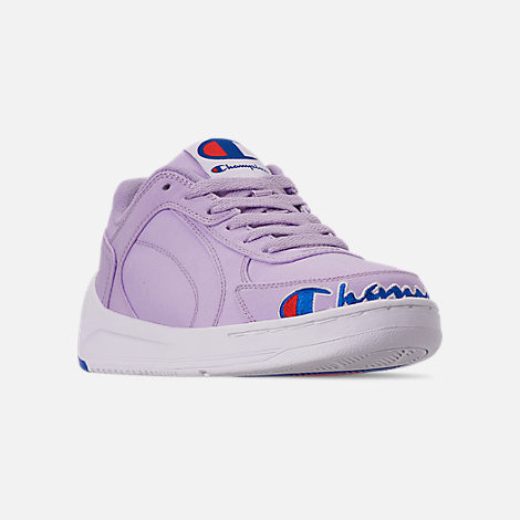 Three Quarter view of Women's Champion Super C Court Low Casual Shoes in Violet