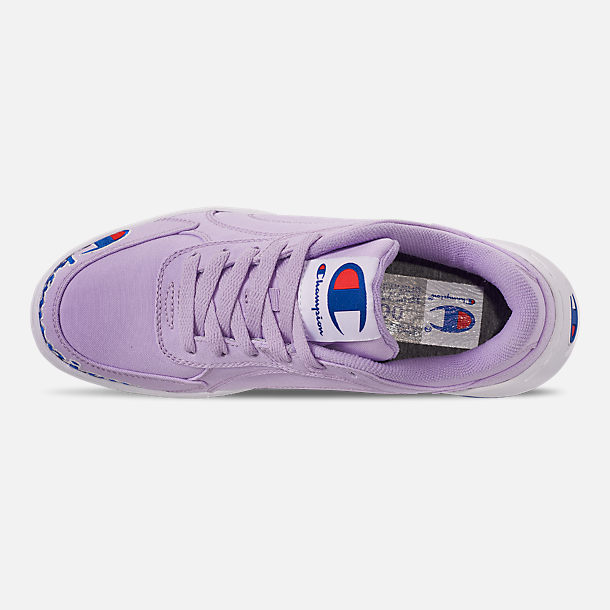 Top view of Women's Champion Super C Court Low Casual Shoes in Violet