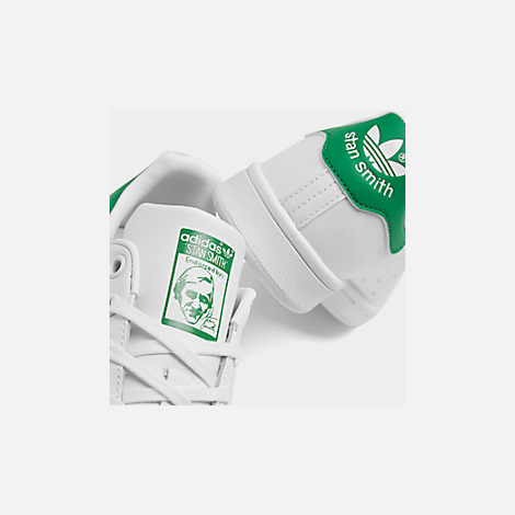 Front view of Boys' Grade School adidas Originals Stan Smith Casual Shoes in White/Fairway
