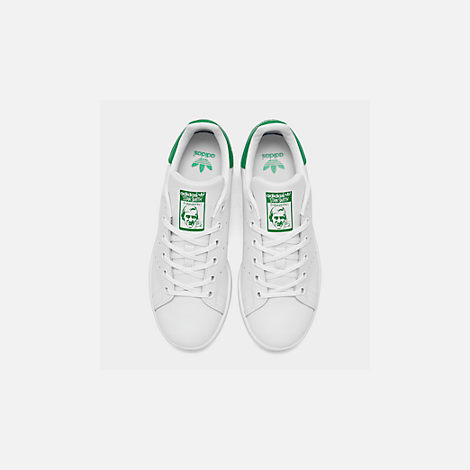 Back view of Boys' Grade School adidas Originals Stan Smith Casual Shoes in White/Fairway
