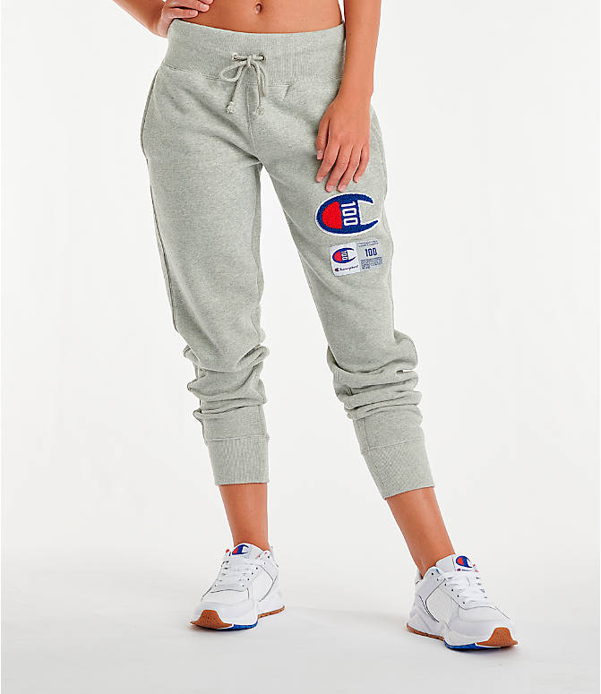 Front view of Women's Champion Century Jogger Pants in Oxford Grey