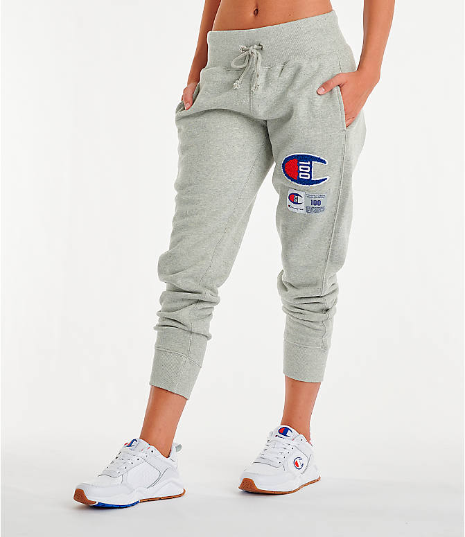 Front Three Quarter view of Women's Champion Century Jogger Pants in Oxford Grey