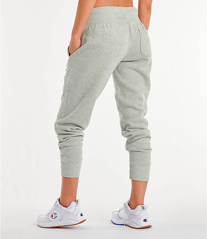 Back Left view of Women's Champion Century Jogger Pants in Oxford Grey