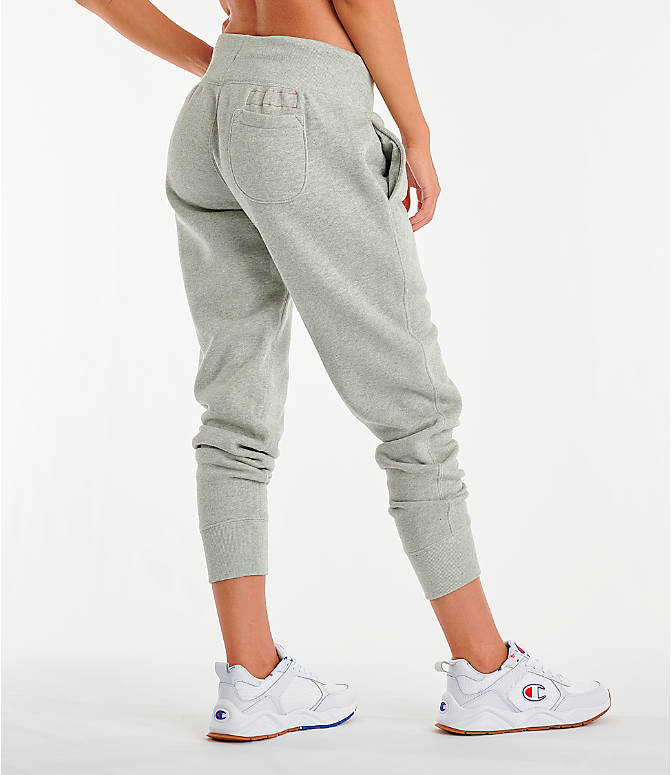 Back Right view of Women's Champion Century Jogger Pants in Oxford Grey