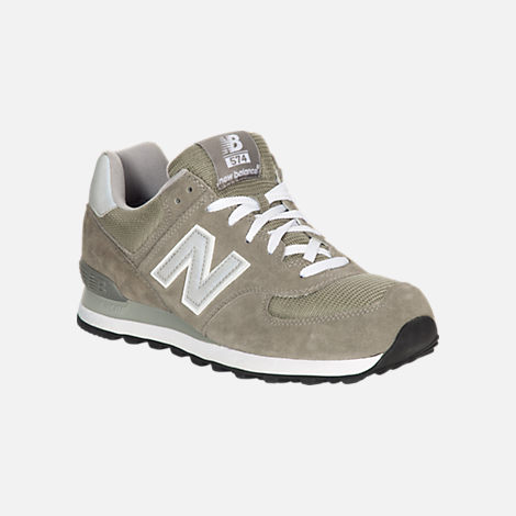 Three Quarter view of Men's New Balance 574 Suede Casual Running Shoes in Grey