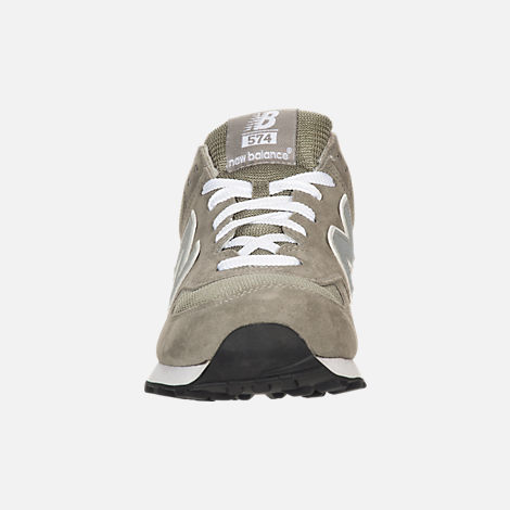 Front view of Men's New Balance 574 Suede Casual Running Shoes in Grey